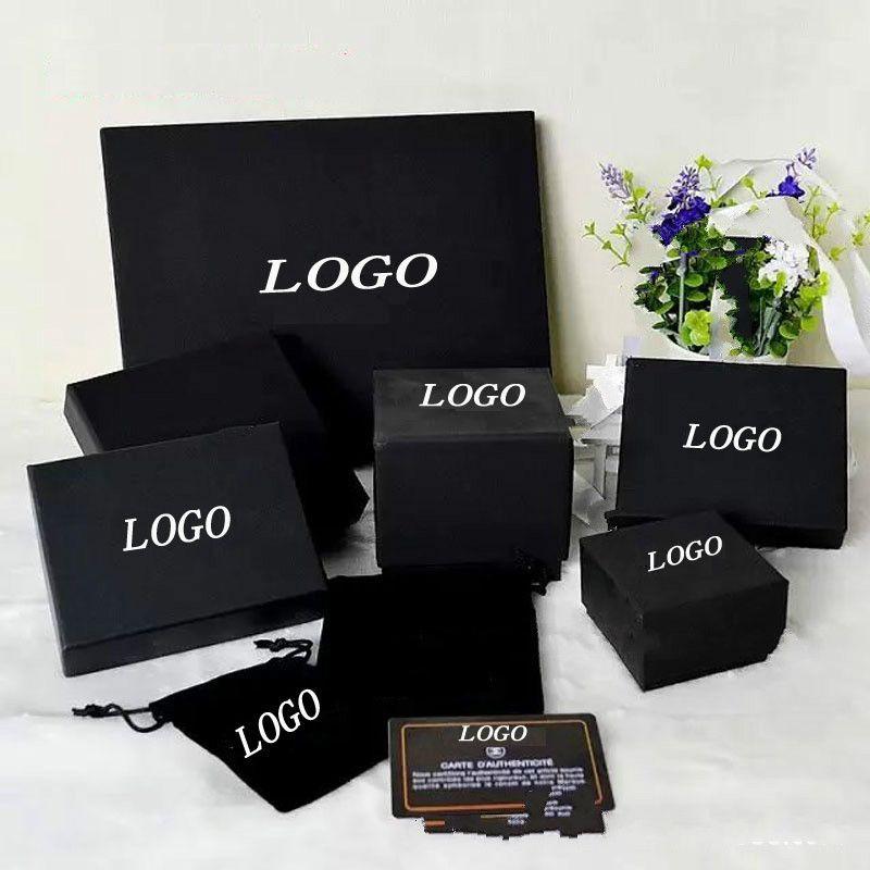 اسم العلامة التجارية أزياء سوداء قلادة قلادة مربع اللؤلؤ سترة سلسلة بروش سوار الطوق أقراط مجوهرات صندوق التسوق مجانا