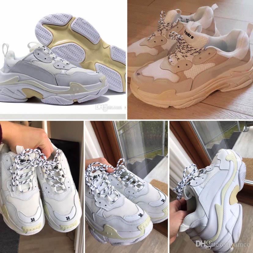 2019 Sıcak Paris Üçlü S tenis Tasarımcı Lüks Ayakkabı Düşük Top Spor Sneakers Tripler Erkek ve Kadın Eğitmenler Ayakkabı Boyut 36-45 Womens