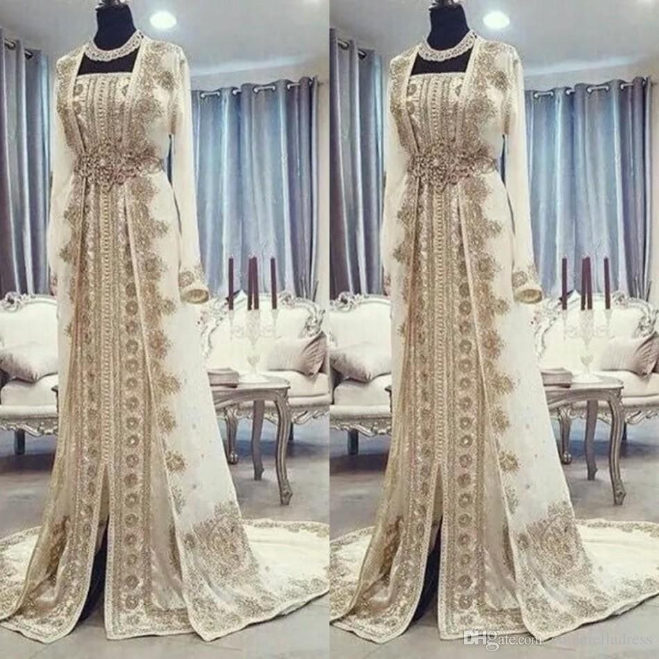 Moderne marokkanische Kaftan Kaftan Abendkleider Dubai Abaya Arabisch langen Ärmeln Erstaunliche Goldstickerei Platz Prom Formelle Anlässe Kleider