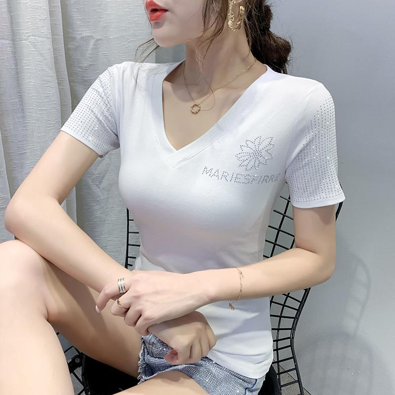 Summer Clothes T-shirt Fashion Sexy V-Neck Diamonds Women Tops Ropa Mujer Short Sleeve Cotton Tee 2020 New Black T04003