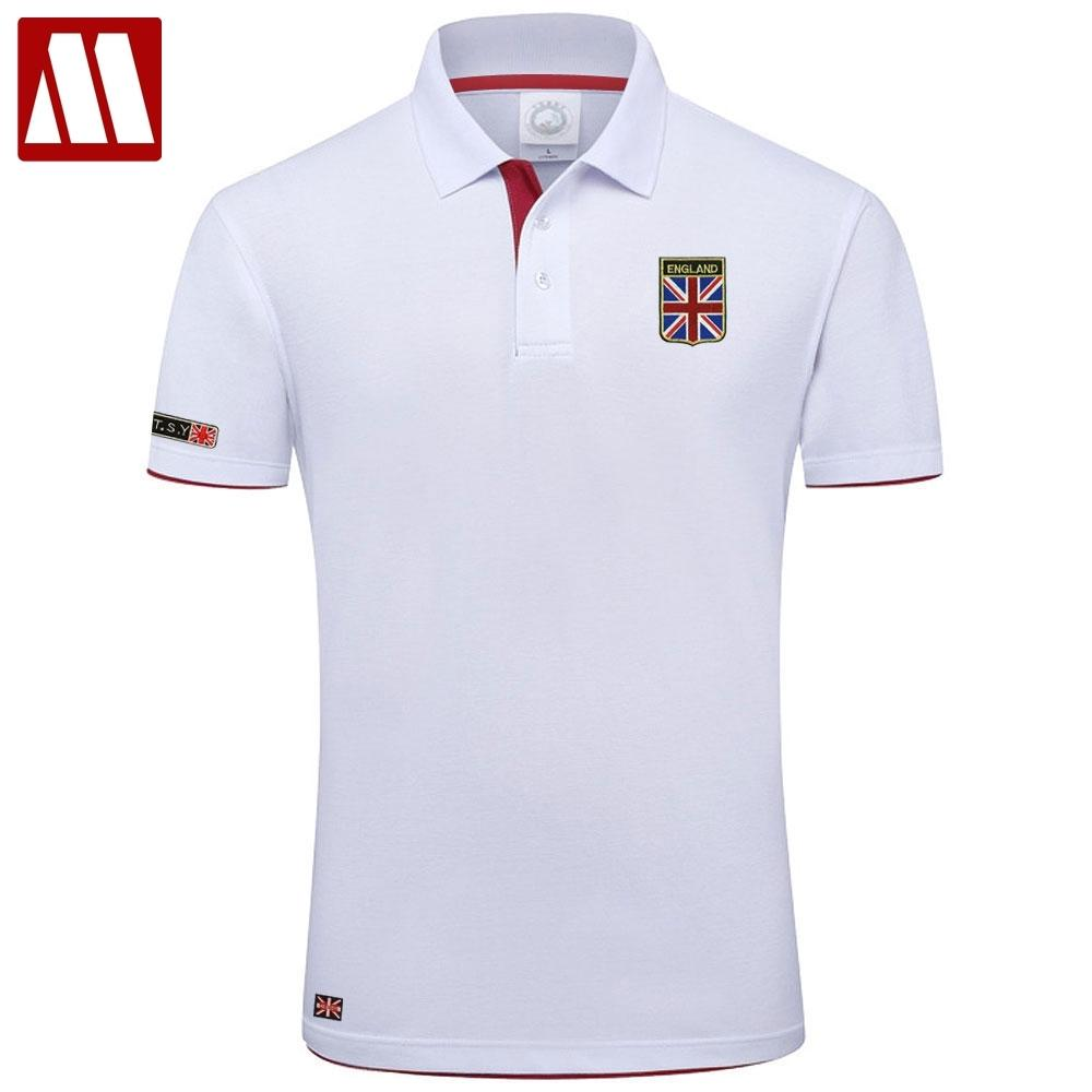High Quality MYDBSH Brand Summer Short Sleeve Polo Shirt Man Fashion Union Flag Embroidery Casual Men's Polo Shirts Cotton Tops T200528
