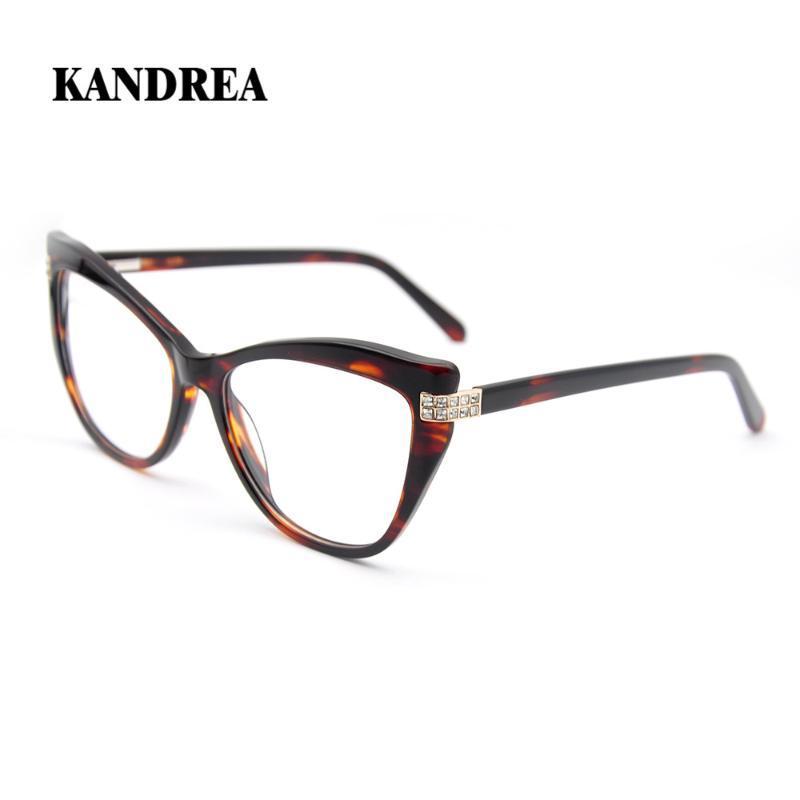 KANDREA 2020 عين القط نظارات المرأة مع الحفر المسمار ربيع المفصلي نظارات مثير إطار بصري نظارات نظارات وصفة طبية
