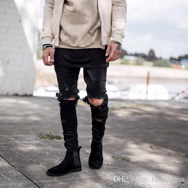 Moda para hombre Moda College Boys Skinny Runway Pantalones de mezclilla rectos Vaqueros rasgados destruidos Vaqueros azules claros negros Venta caliente
