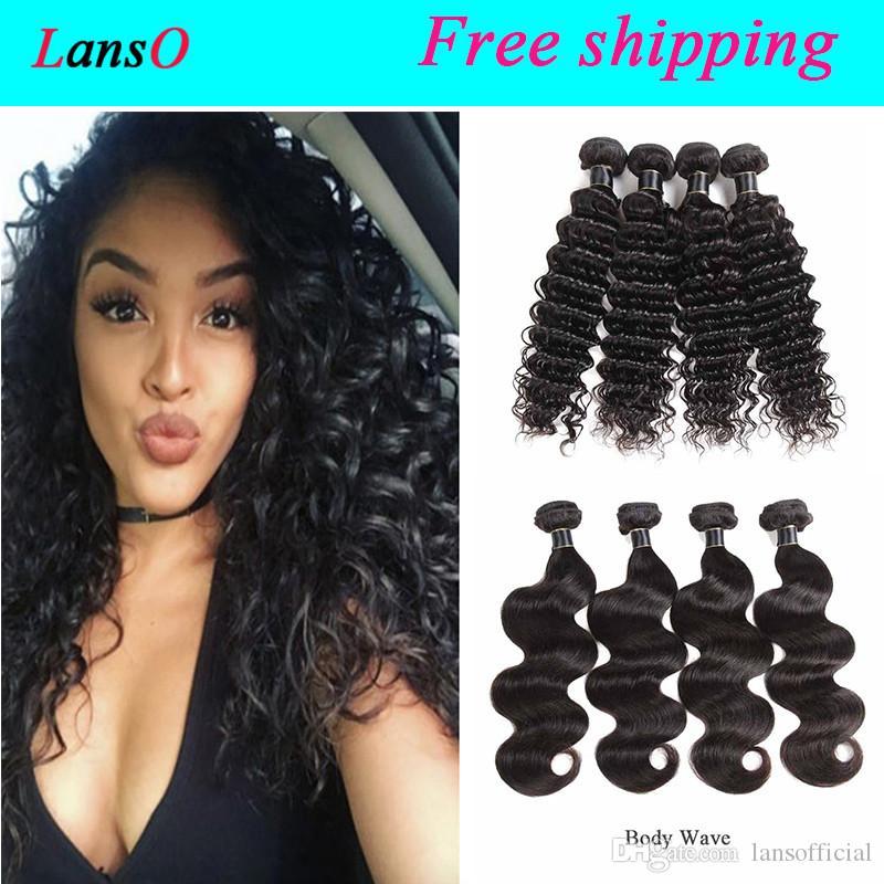 Brésilien Pérou Indien Malaisie Cambodge Virgin Human Hair Extensions vague profonde brésilienne Natural Wave Virgin Hair Trames Body Wave