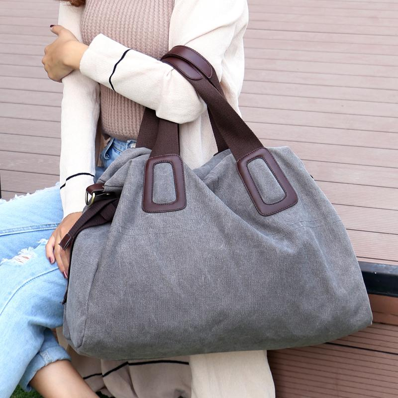 2018 New Women's Canvas Handbags High Quality Female Hobos Single Shoulder Bags Vintage Solid Multi-pocket Ladies Totes Bolsas Y19062003