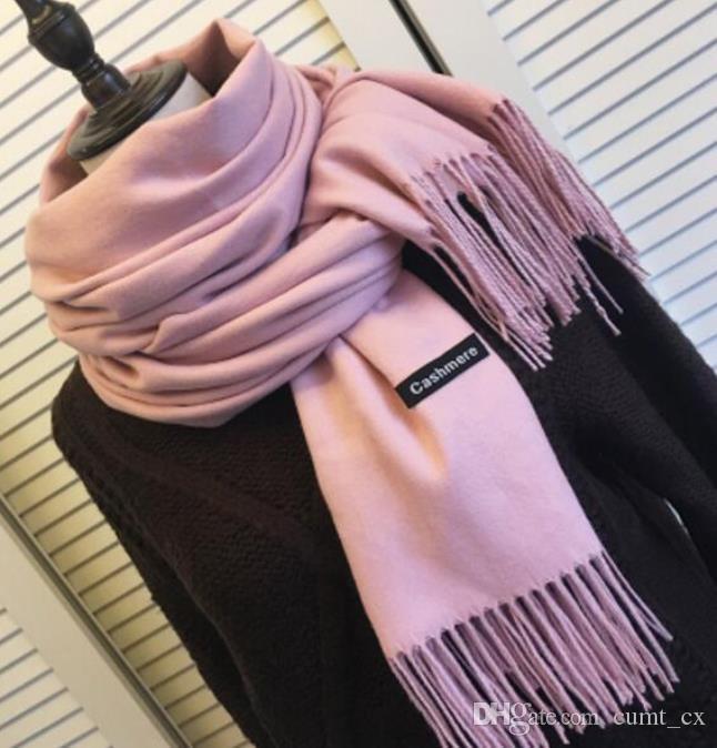 Donne solido sciarpe di colore cashmere con nappa autunno inverno della signora lunga sciarpa di alta qualità uomini sciarpa scialle femminile di vendita calda