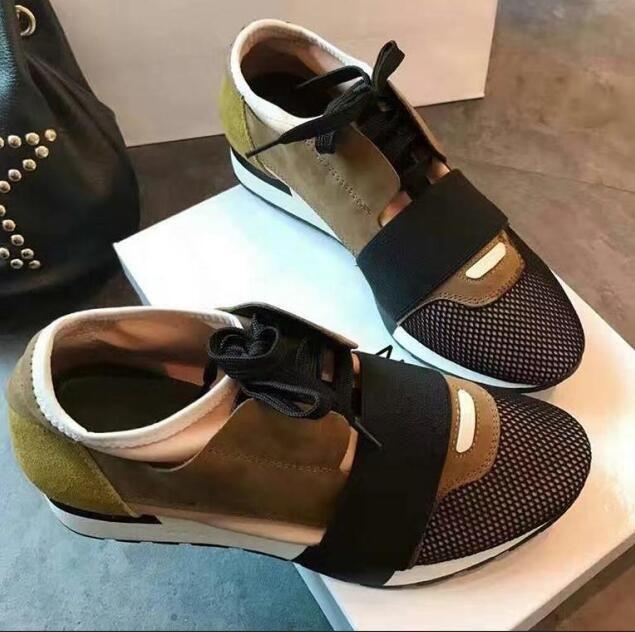 New Man Femme Chaussures en cuir Casual Low Cut Mesh respirant espadrille extérieur Formateurs Chaussures Runner SneakerUS5-11 M5
