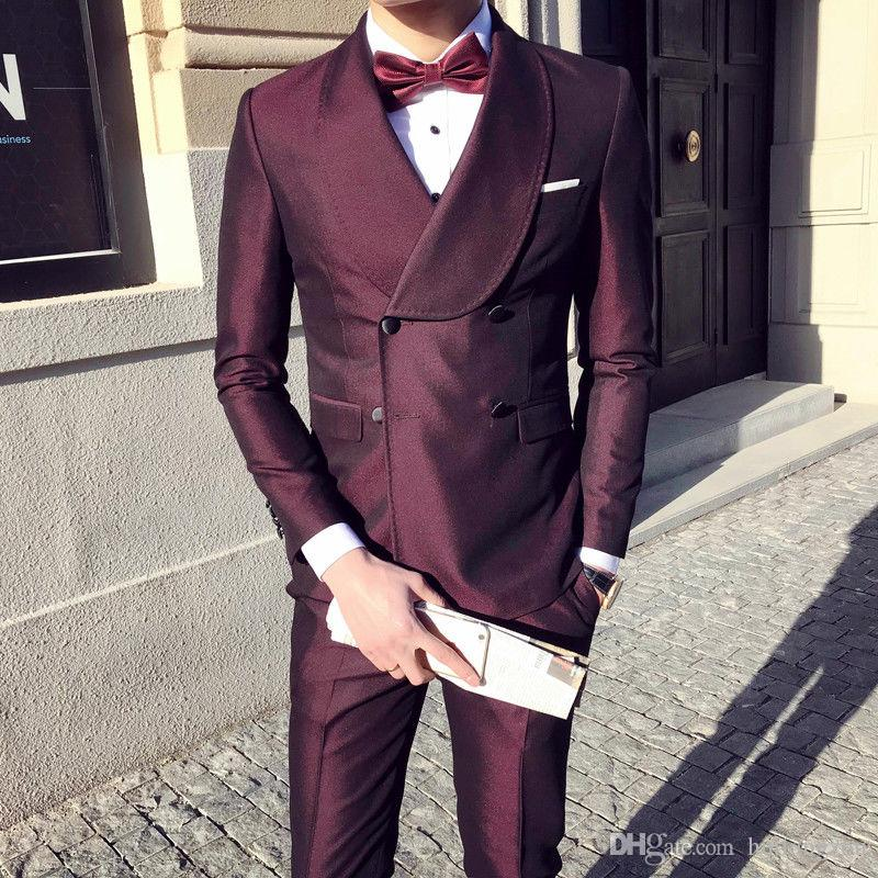 2019 Wine Red Mens Designer Suits Double-breasted Lapel Jackets Slim Fit Groom Tuxedos Custom Made(Jacket+Pants)