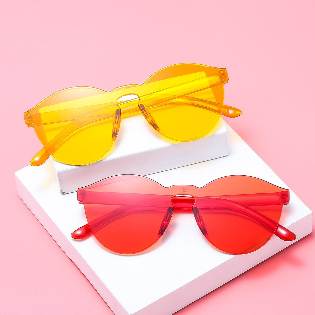 Atacado-3 estilo de verão mulheres sem aro óculos de sol transparente tons óculos de sol feminino fresco doce cor uv400 eyewear oculos de sol hzyj288