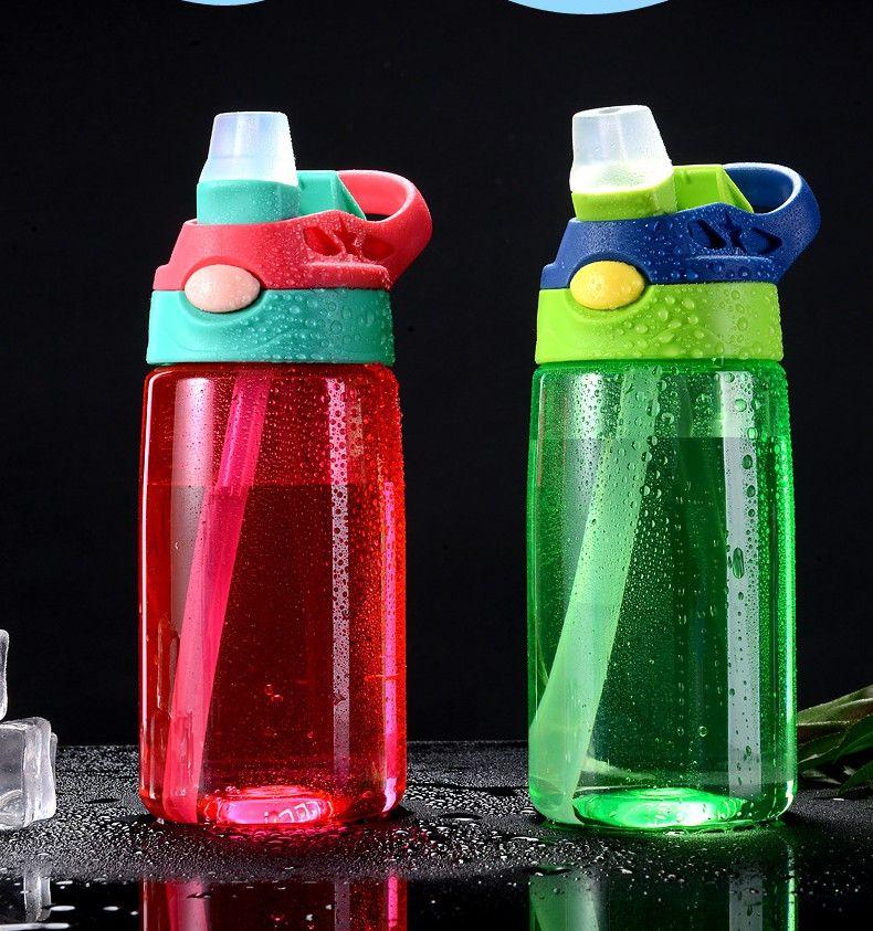 16oz пластиковые дети бутылки воды Сиппи Кубок BPA бесплатно герметичность широкий рот бутылки с откидной крышкой утечки и разлива доказательство бутылки