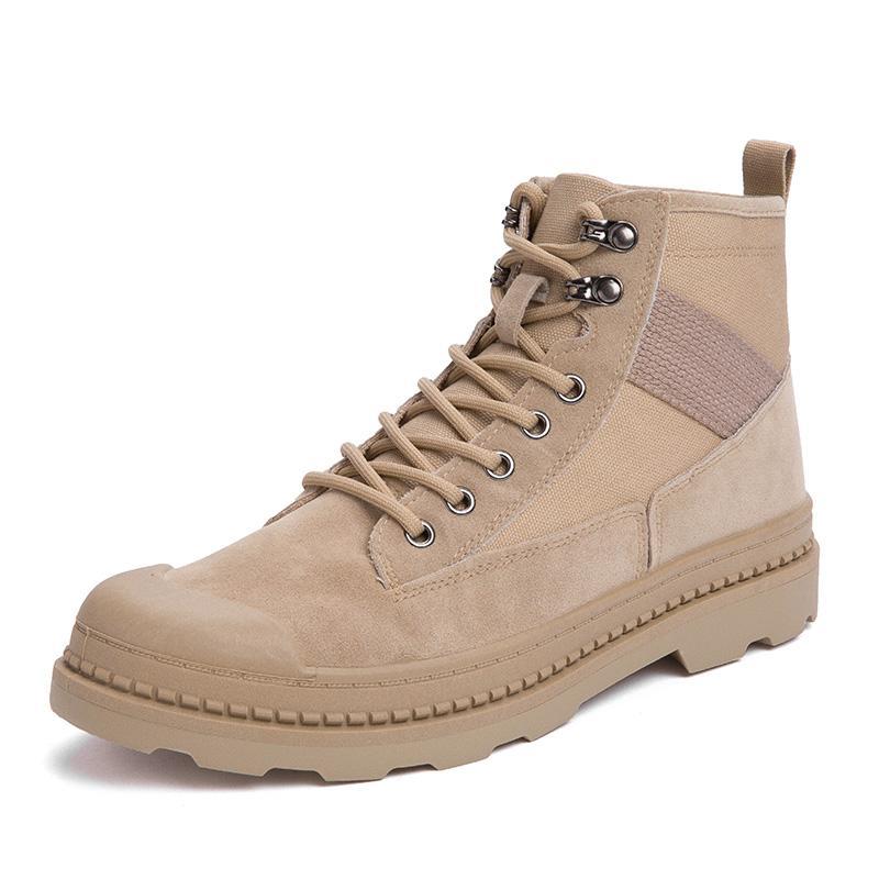 Hombres Martin Jeans Tamaño de las botas botas para hombre de microfibra de cuero zapatos de trabajo impermeable retro británico de alta superior zapatos de cordones 39-44