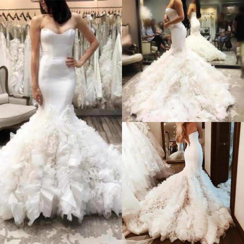 Gorgeous Ruffles Mermaid Wedding Dresses Strapless Corset Top Zipper Back Bridal Gown 2019 Sweep Train Vintage Church Wedding Gown Plus Size