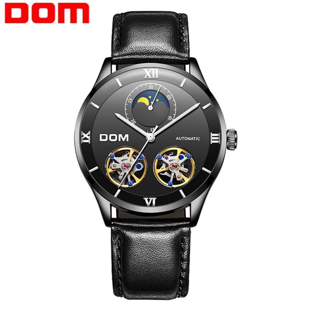 DOM relojes de los hombres de diseño de moda Esqueleto Deporte mecánicos del reloj luminoso manos de piel transparente pulsera de reloj masculino M-1270BL-