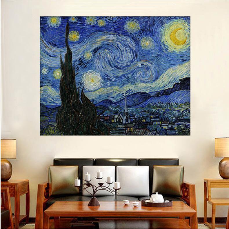 5D Elmas Nakış Van Gogh Yıldızlı Gece Çapraz Tam Yuvarlak Matkap 5D DIY Çerçevesiz Ev Dekorasyon Çapraz Dikiş Yağlıboya Resim