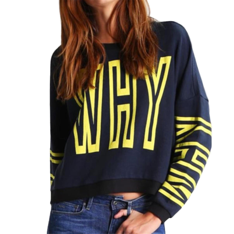 diseñador para mujer británica carta QUÉ impreso suéter de manga larga, además de terciopelo de la chaqueta de las mujeres flojas