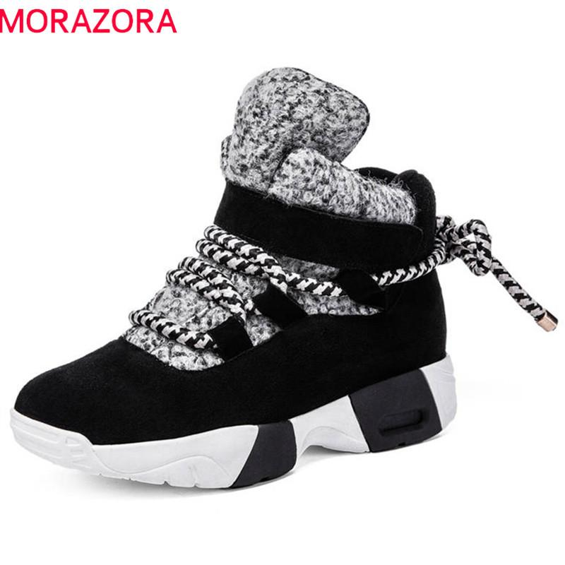 MORAZORA 2019 newest cow suede leather ankle boots lace up fashion sneakers flat shoes keep warm autumn winter boots women