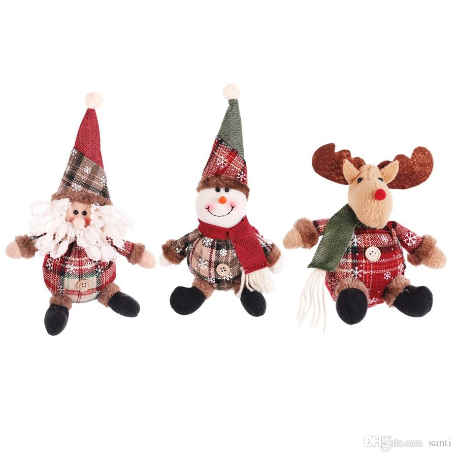 christmas tree ornaments cartoon christmas doll snowflake plaid santa claus elk doll navidad pendant new year kids gifts jk1910 big outdoor christmas decorations big outdoor christmas ornaments from santi 0 87 dhgate com dhgate com