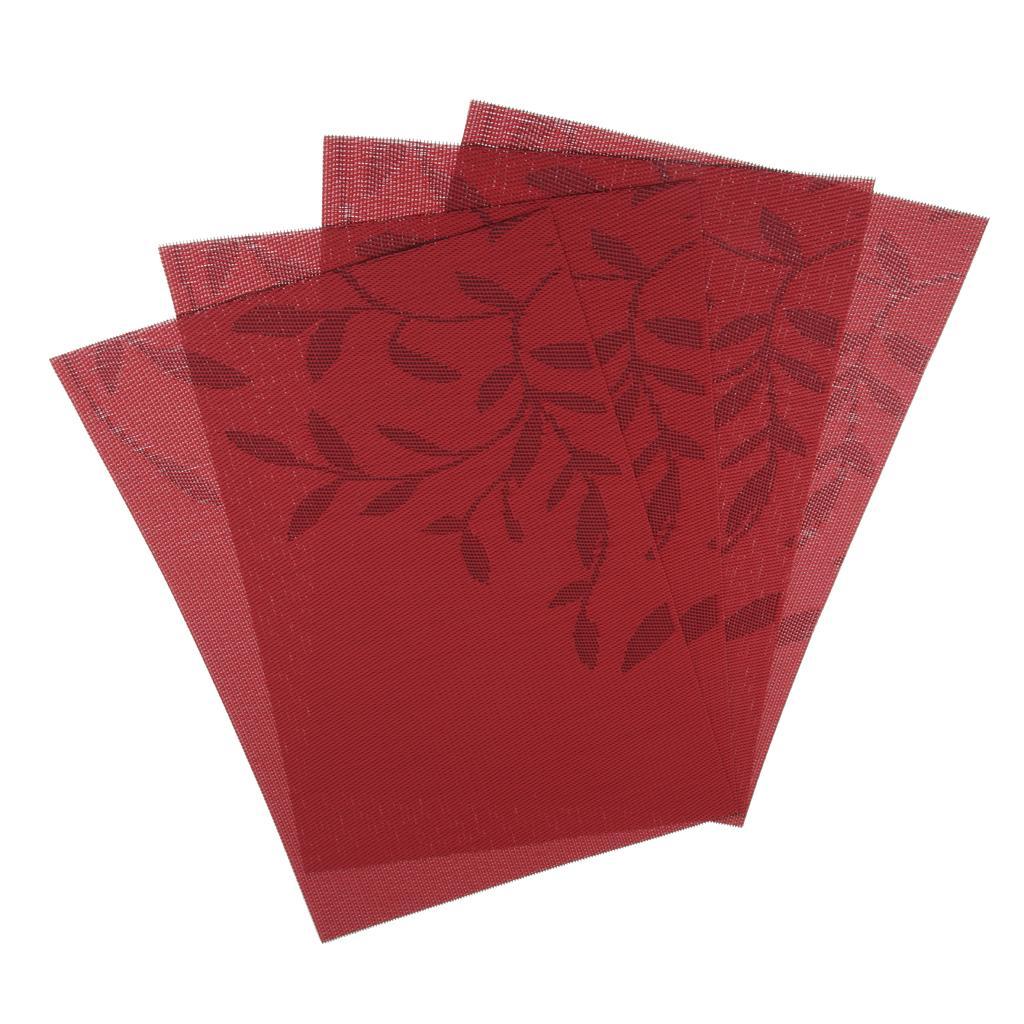 PVC Placemats, Isıya dayanıklı, Aşınmaya dayanıklı, Anti- kayma Yıkanabilir Masa Mats - 4, 18 x 12 inç Seti