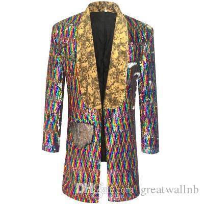мужские роскошные Bling цвет с блестками hiptop/рок/ковер, показывая длинный жакет/студия/этап производительность куртка