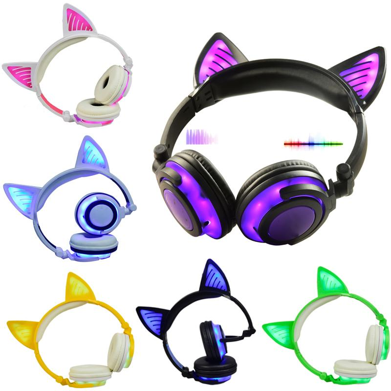 Limson 3 5mm Plug Bluetooth Wireless Headphone Cute Glowing Headset Folding Cat Ear Headband Gift For Kids Boys And Girls Best Cell Phone Earbuds Best Wired Earbuds From Wei4134 103 75 Dhgate Com