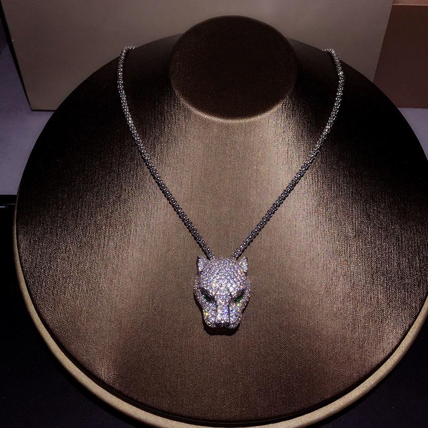 New Pure 925 Sterling Silver Fashion Zircon Leopard Collana Party Jewelry Lussuoso oro bianco Leopard Head maglione catena J190713
