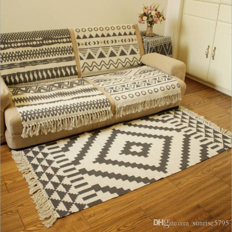 Cotton Doormat Black Moroccan Area Rug