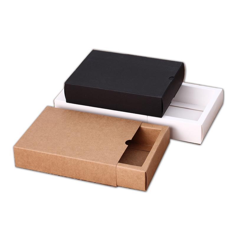 Kraftpapierbox Schwarz Weiß Papier Schubladenkasten für Tee Geschenk Unterwäsche Biskuit Verpackung Karton Karton Cancialized 8x8x4cm 12x9x3.3cm 17x8x3.5cm