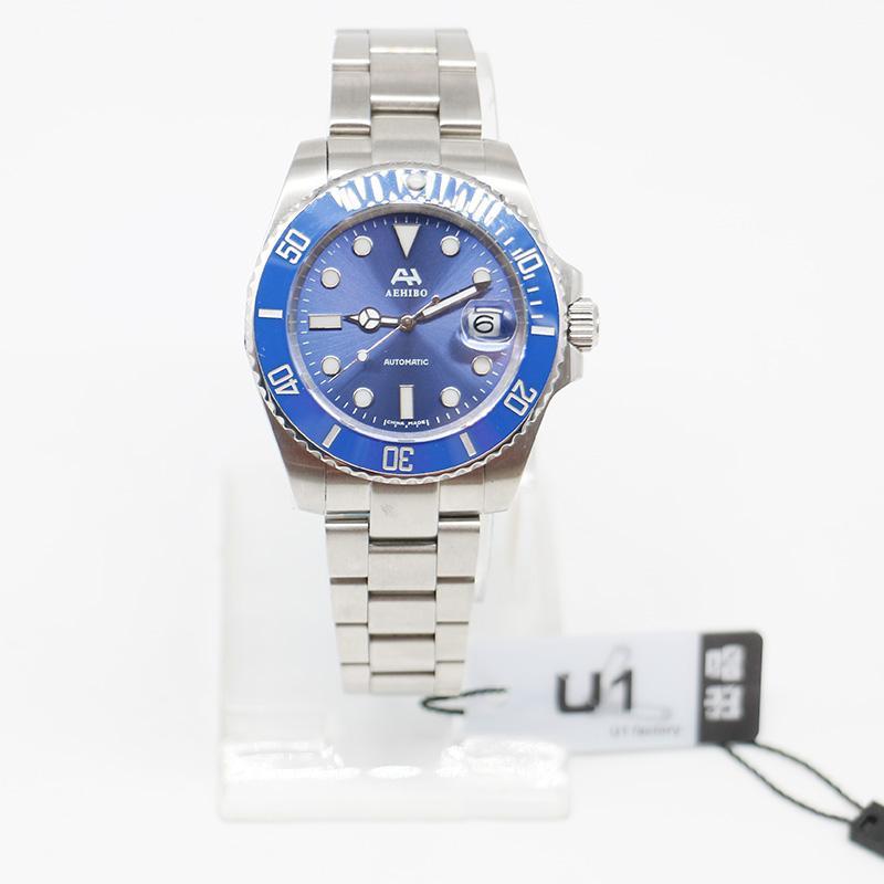 U1 مصنع العلامة التجارية AEHIBO الياقوت زجاج الأزرق السيراميك مدي 116619LB 116610 الحركة التلقائية الساعات الصلب ST9 الإنزلاق المشبك رجل ساعات المعصم