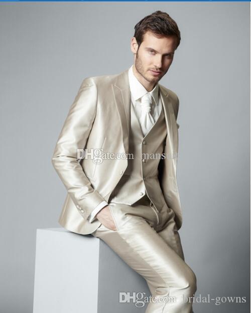 Handsome Groomsmen picco risvolto smoking dello sposo lucido Champagne Uomini Abiti da sposa / Prom Best Man Blazer / sposo (Jacket + Pants + Vest + Tie) M576