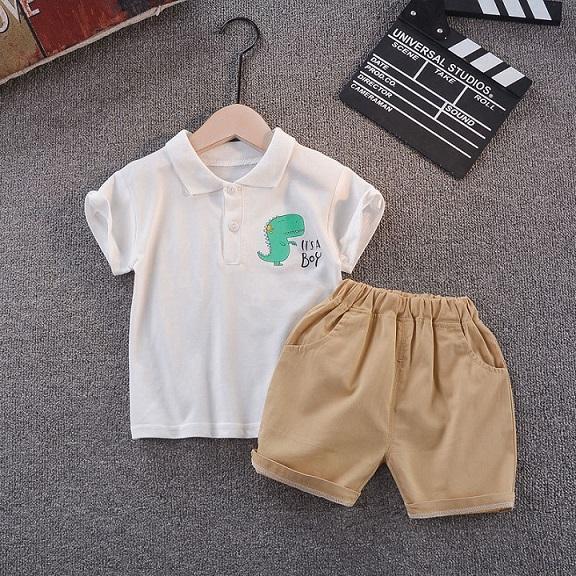 어린이 디자이너 의류 세트 여름 패션 옷 정장 폴로스 + 반바지 두 조각 소년 어린이 패션 프린트 셔츠 뜨거운 판매