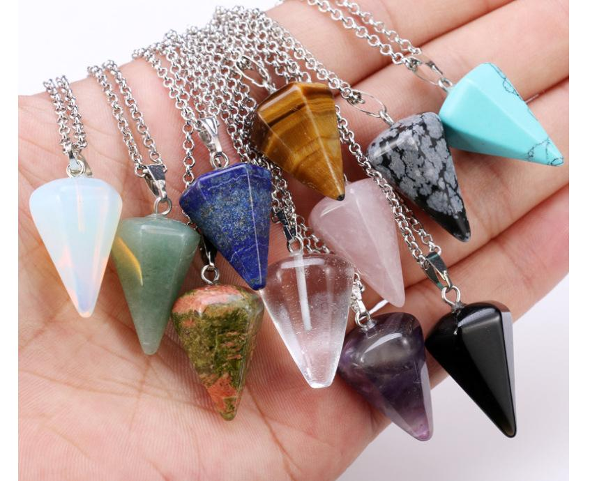 Foreign trade jewelry network explosion European and American fashion pendulum bullet natural stone crystal hexagonal Pendant Necklace