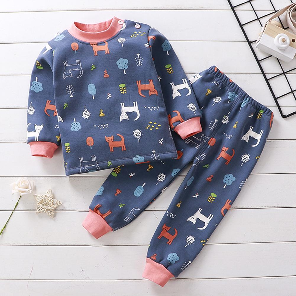 Girls Boys Autumn Winter Plush Thermal Underwear Sets Christmas Outfit Kids Clothes Suit For 1-5 Y Baby Children Warm Clothing