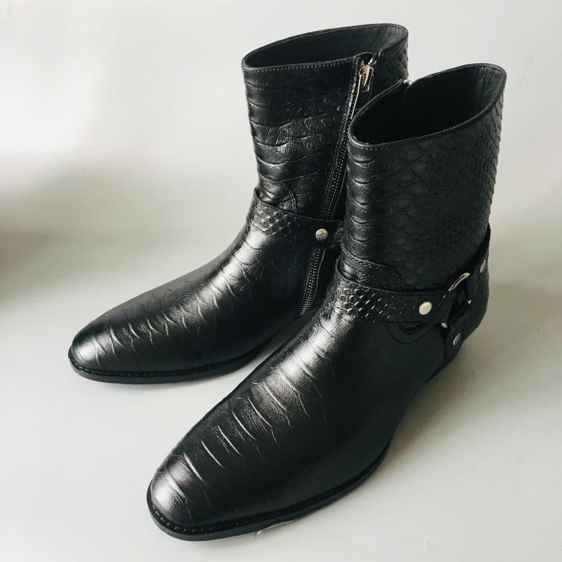 Moda lüks ejderha derisi kaliteli sığır derisi brogue iş siyah halka erkek botları resmi banket Çizme