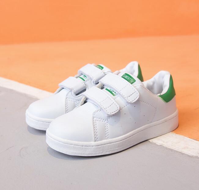 Chaussures enfants chaussures blanches de table pour les enfants de queue verte garçons filles velcro petites chaussures blanches WY252