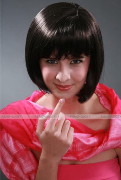 WIG HOT Free Shipping New Brown Dark Short Straight tiene flequillo peluca de alta calidad de las mujeres