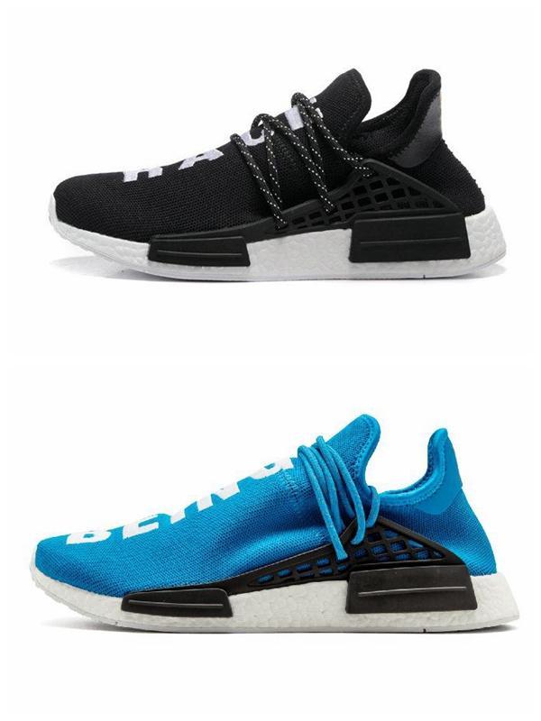 2019 Inspiration solaire Paquet corps humain Chaussures de course hommes et femmes Pharrell Williams HU Coeur esprit Égalité Nerd Sport Chaussures Confort