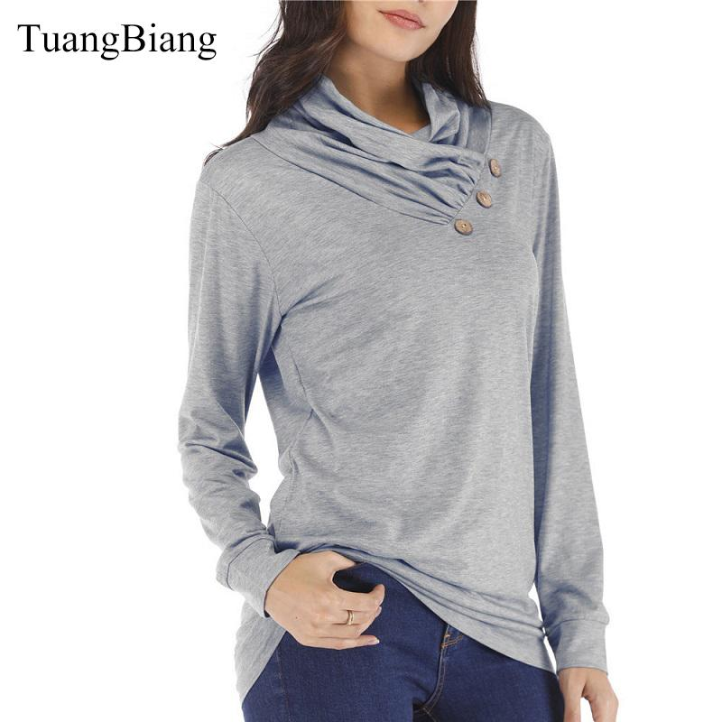 Wave cut Turtleneck Button Full Sleeve 2018 Women's Winter Loose Tops Draped Solid Tee Cotton Casual Lady Autumn Ladies T-shirts