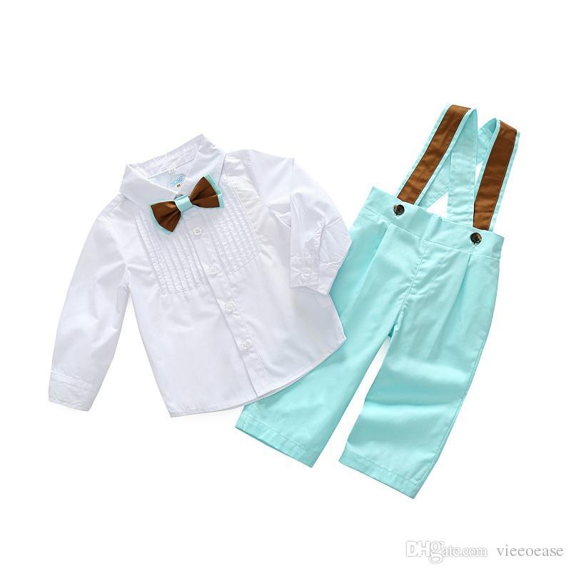 Vieeoease Boys Sets Gentlemen Kids Clothing 2019 Spring Long Sleeve Shirt + Pants Children Outfits 2 pcs CC-116