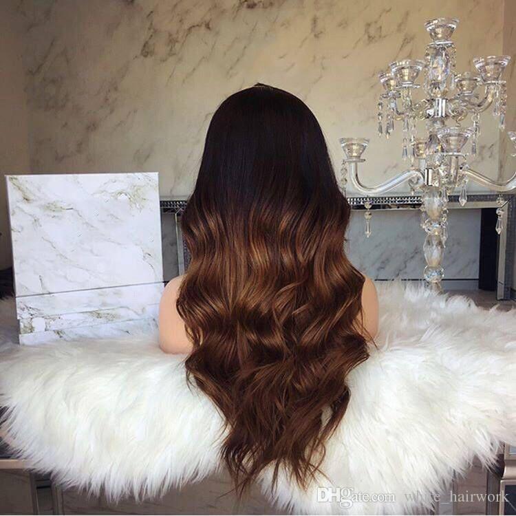 Faux prix de découverte perruque de vente chaude avec la fibre chimique avant de lacet perruque Lady couvre-chef graduel avec la teinture à grande vague