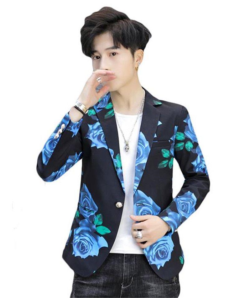 Rose Print Mens Designer Blazers Fashion Slim Single Button Panelled Mens Designer Blazers Casual Males Clothing