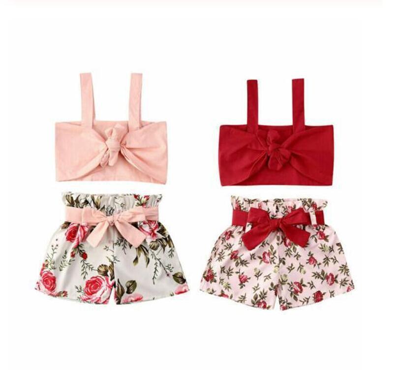 Nuova estate ragazze bambino scherza i bicchierini regolati a due pezzi fiori floreale insieme dei vestiti senza maniche fashion girls tuta spiaggia vestito del partito 2020 D6416