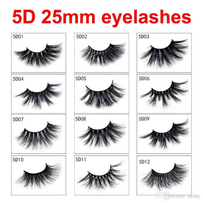 5D 25mm Lashes 17 Styles Long Dramatic 25mm Long Thick Eyelashes Handmade False Eyelash Eye Makeup