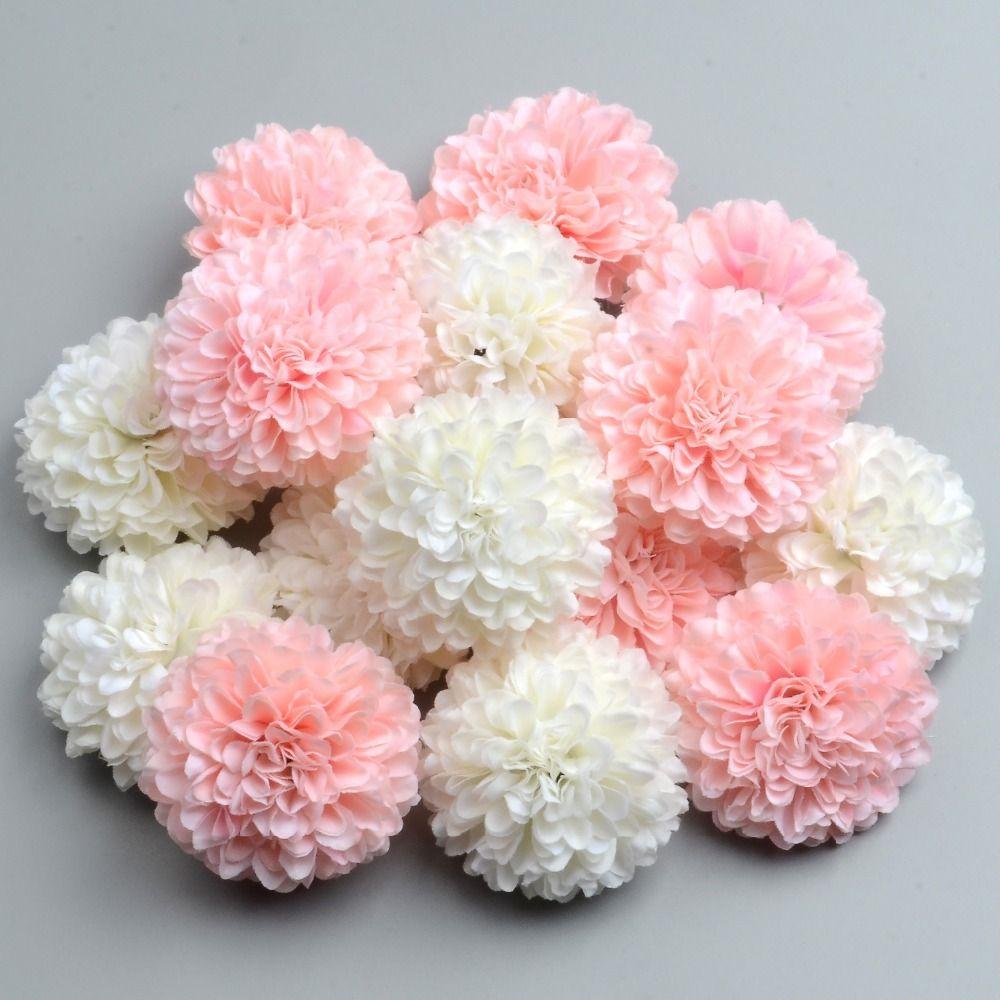 50pcs 5cm artificiale Pompon rosa di seta bianca testa di fiori di ortensia casa Wedding decorazione DIY Scrapbooking falsificazione fiore Corone T200103
