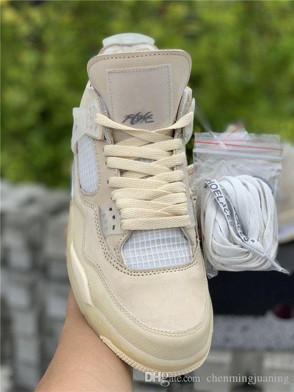 Üst Kalite Hava Otantik 4 SP WMNS Yelken Krem Beyaz Basketbol Ayakkabı Retro Muslin-Beyaz-Siyah Adam Kadınlar Sneakers ile Kutusu CV9388-100 x