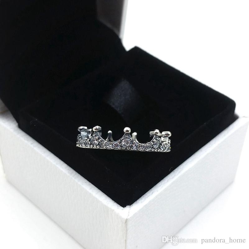 기질 매력 크라운 반지 판도라 럭셔리 디자이너 925 스털링 실버 골드 도금 CZ 다이아몬드 여성의 반지 원래 박스 세트