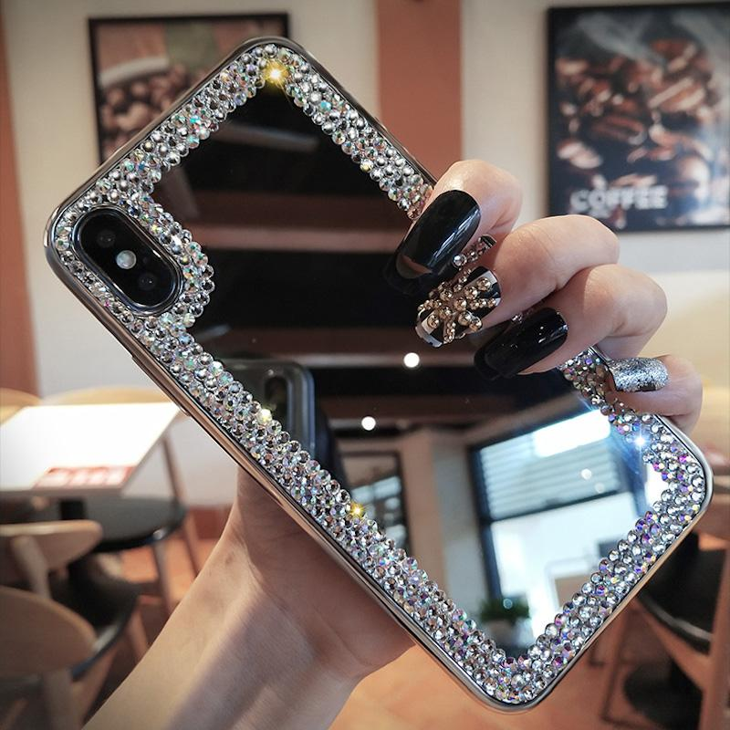 Fancy Simple rhinestone shinning phone case for iPhone X XS MAX XR mirror clear cover for iPhone 6 6s 6plus 7 7plus 8 8plus