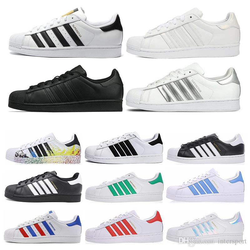 Adidas Superstar Livraison Gratuite Superstar Blanc Noir Rose Bleu Or Superstars Des Années 80 Fierté Sneakers Super Star Femmes Hommes Sport Casual Chaussures EU Taille 36-45