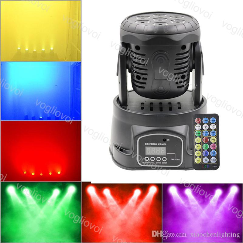 Moving Head Lights 7X10W RGBW LED Mini Beam Spot Wash Stage Lighting Mixing DMX512 Control For Disco DJ Christmas Party Effect DHL