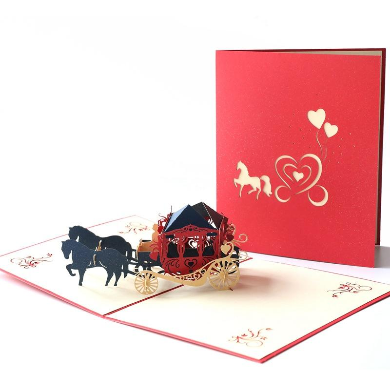New 3D Wedding Greeting Card Pop UP Creative Carriage Handmade Paper Gifts Valentine's Day Card By DHL