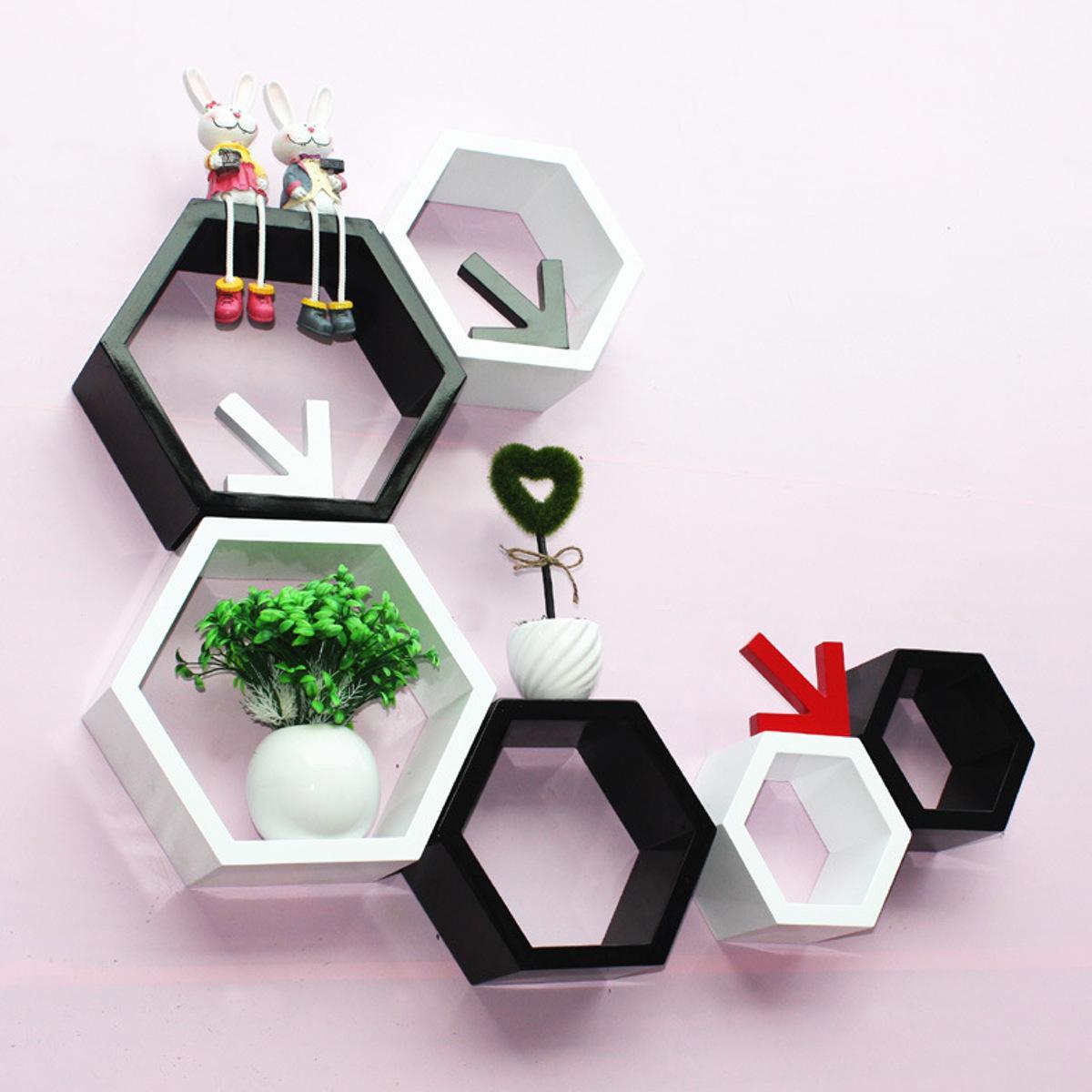 3Pcs / Set Hexagon Mensola scaffali galleggiante Wall Hanging figura geometrica casa Decorazione Camera Bookshelf bagagli Libro Kit T200320